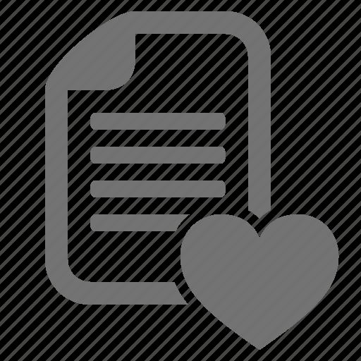 bookmark, document, facorite, file, heart, love icon