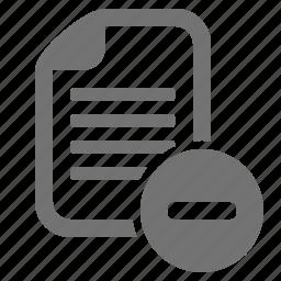 cancel, delete, document, file, minus, remove, substract icon
