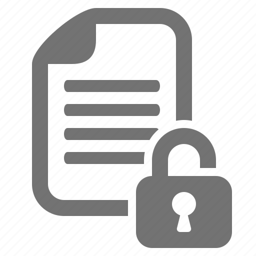 document, encryption, file, lock, open, security, unlock icon