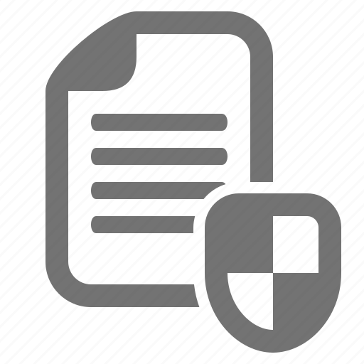 data, document, encryption, file, protection, security, shield icon