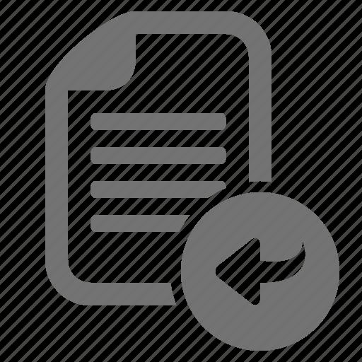 arrow, back, document, file, return, undo icon