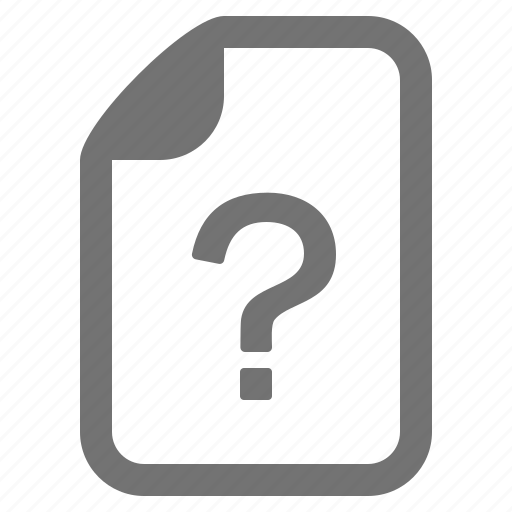 document, file, format, question, type, unknown icon
