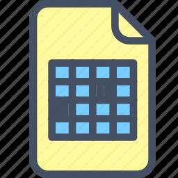 doc, file, graph, image, table icon