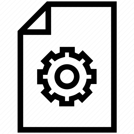 document, file, gear, paper, settings icon