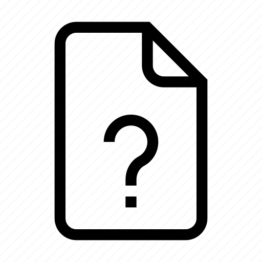 action, content, document, file, question, unknown icon