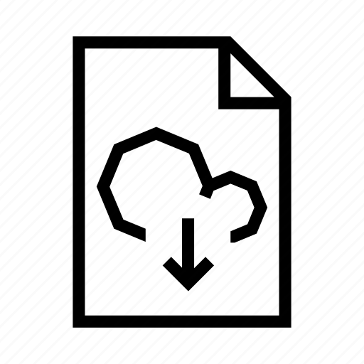 arrow, cloud, document, download, file, page, text icon