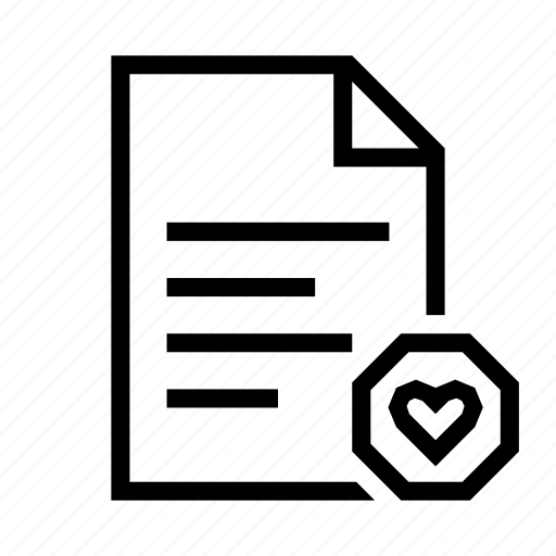 document, favourite, file, heart, page, paper, text icon