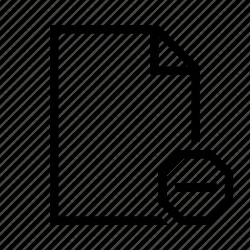 delete, document, file, minus, page, remove, text icon