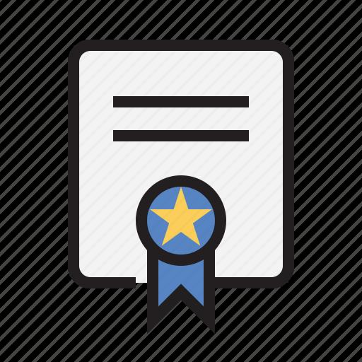 award, certificate, files, ribbon icon