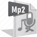 audio, file, filetype, movie, mp2, sing, video icon