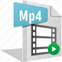 file, filetype, movie, mp4, play, video icon