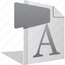 file, font, letter, otf, reading, writing icon