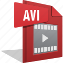 avi, file, filetype, movie, play, video icon