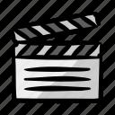 clapper, movie, shooting, entertainment, art icon