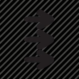 arrow, arrows, triple icon