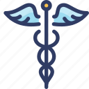 caduceus, health, medical, snake, wing icon