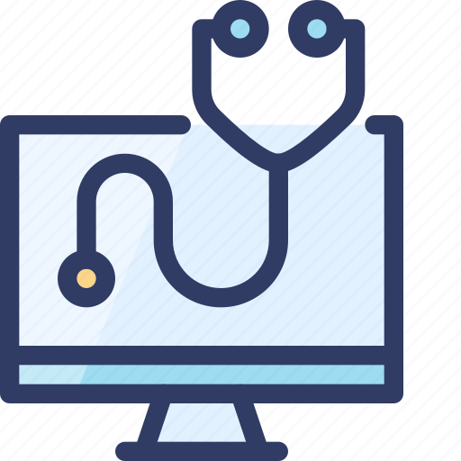 computer, health, healthcare, online, stethoscope icon