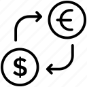 cash exchange, currency conversion, currency exchange, foreign exchange, money exchange icon