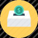 coin box, currency coin, dollar coin, money box, savings