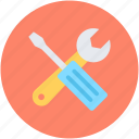 garage tool, repair tools, screwdriver, settings, spanner icon