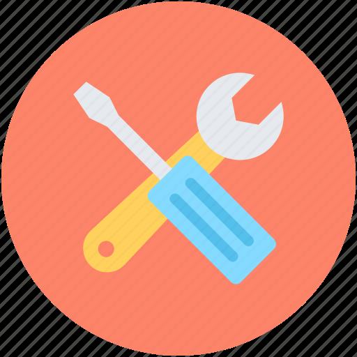 garage tool, repair tools, screwdriver, settings, spanner icon
