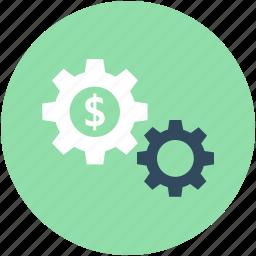 banking, cog, cogwheels, dollar, investment plan icon