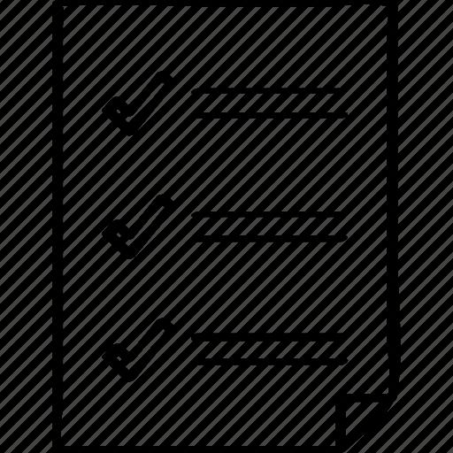 checkmarks, document, three icon