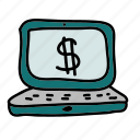 business, calculations, computer, dollar, finance, sign icon