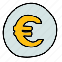 business, euro, finance, sign icon