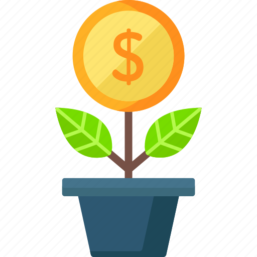 bank, currency, growth, investment, money, plant icon