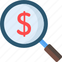 business, commerce and shopping, dollar, dollar symbol, loupe, magnifying glass, search icon