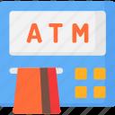 1, atm, cash point, machine, money icon