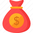 bag, bank, banking, currency, dollar symbol, money, money bag icon