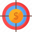 coin, dollar, marketing, money, seo and web, sniper, target icon