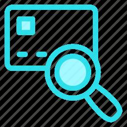 card, creditcard, finance, search icon