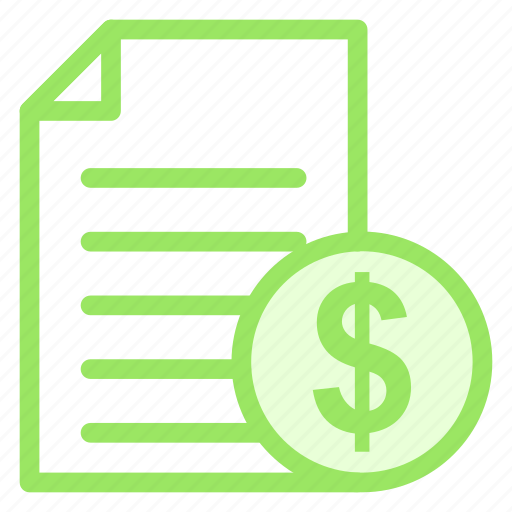 bill, document, file, money, pageicon icon