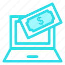 cash, laptop, onlineshoping, paymenticon icon