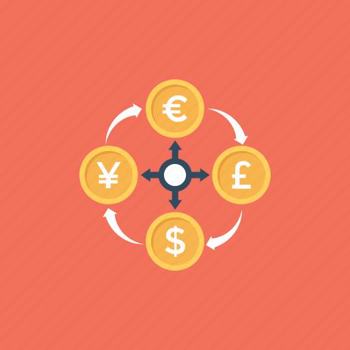 commerce, currency exchange, foreign exchange, money circulation, money exchange icon