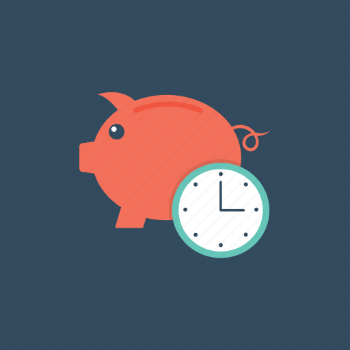 clock and piggy, save time, time is money, time management, time value concept icon
