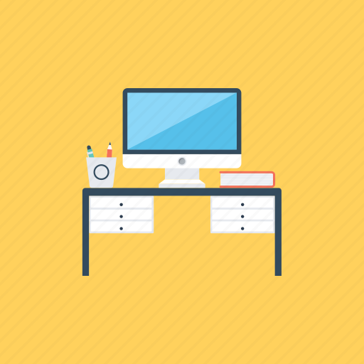 front desk, office, office desk, office space, workstation icon