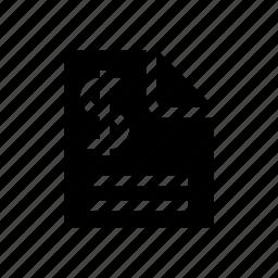 bill, data, dollar, finance, money, statement, statistics icon