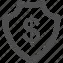 coin, dollar, money, safety, sheild icon