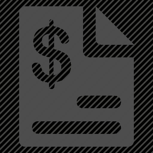 document, dollar, paper, report icon