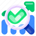 bank, business, chart, commercial, economy, finance, magnifying glass icon