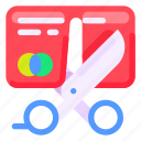 bank, business, commercial, economy, finance, no more debt, scissor icon