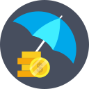 dollar, finance, investment, safe, security, umbrella icon