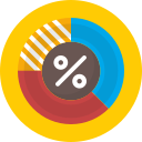 discount, persentage, pie chart icon