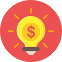 bulb, dollar, financial, idea, light, mone, money icon