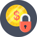 coin, dollar, lock, money, save icon