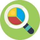 explore, find, magnifire, pie chart icon